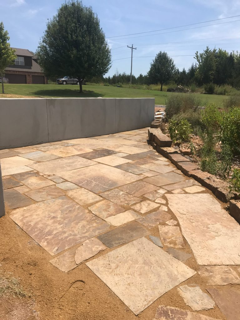 stone paved sitting area