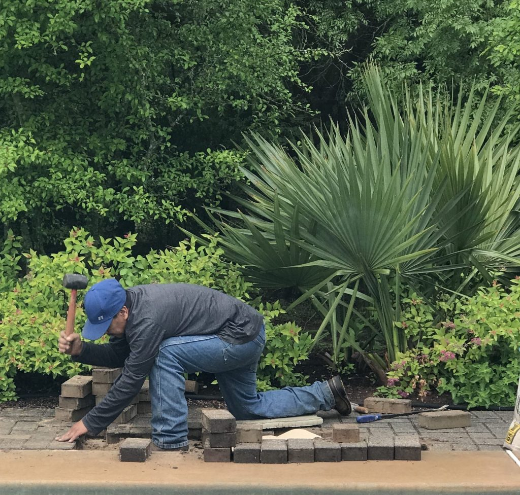 Laying pavers in the landscape