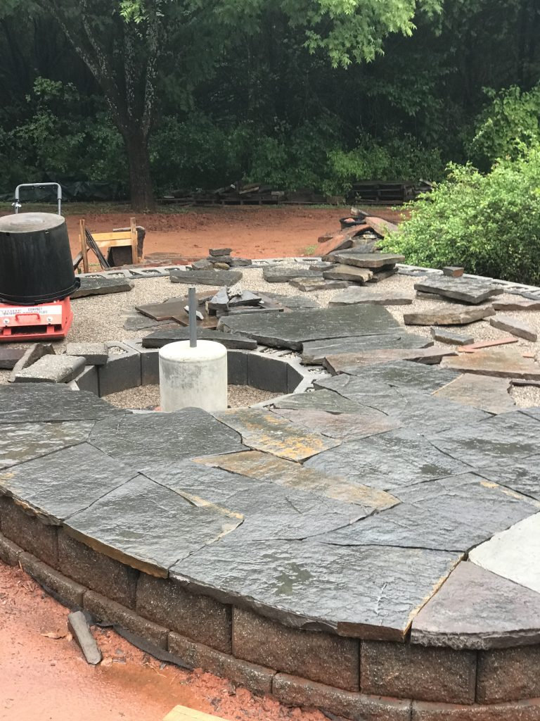 Flagstone under construction